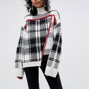 ASOS white heritage check sweater